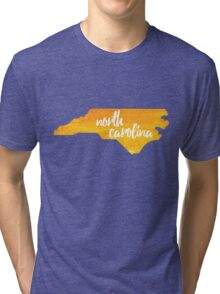 North Carolina - yellow watercolor Tri-blend T-Shirt