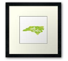 North Carolina - green watercolor Framed Print