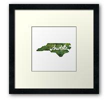 Charlotte, North Carolina - green watercolor Framed Print