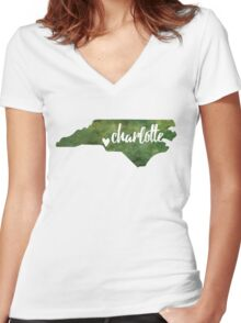 Charlotte, North Carolina - green watercolor Women's Fitted V-Neck T-Shirt