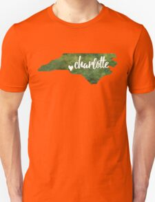 Charlotte, North Carolina - green watercolor Unisex T-Shirt