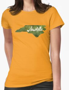 Charlotte, North Carolina - green watercolor Womens Fitted T-Shirt