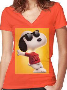 snoopy joe cool Women's Fitted V-Neck T-Shirt