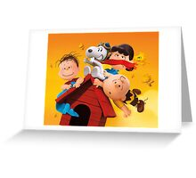 charlie brown snoopy peanuts fly high Greeting Card