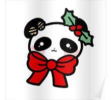 Christmas Panda Face Poster