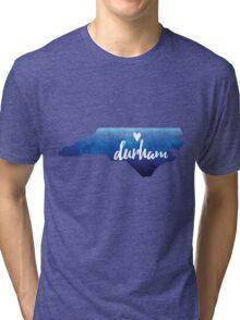 Durham, North Carolina - blue watercolor Tri-blend T-Shirt