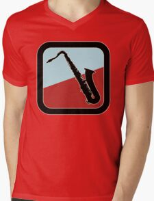 Old Saxophone Sign Mens V-Neck T-Shirt