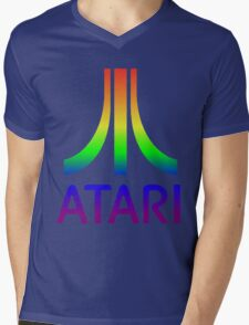 Atari Big Rainbow Logo Mens V-Neck T-Shirt