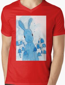 Peppermint Art Bluebell Bunny Mens V-Neck T-Shirt