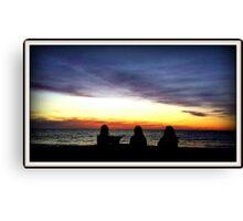 Beach Trio Sunset Canvas Print