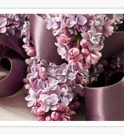 Lilac And Ribbon Curls Sticker