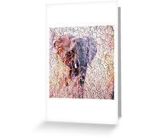 Elephant Faux Vintage Grunge Greeting Card
