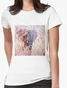 Elephant Faux Vintage Grunge Womens Fitted T-Shirt