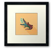 Crocodile and Sun Sea Summer Framed Print