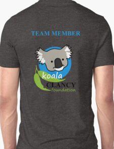 Koala Clancy Foundation Team Member - blue text Unisex T-Shirt