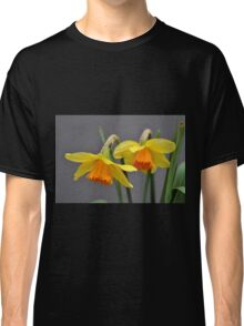 Two Daffodils Against Gray Classic T-Shirt
