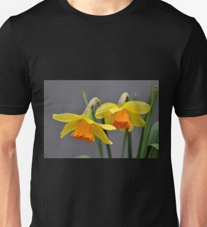 Two Daffodils Against Gray Unisex T-Shirt