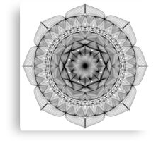 Mandala - Lines Only, Black, No Background Canvas Print