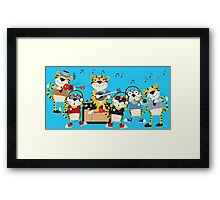 Cartoon Animals Tigers Rock Band Musical Framed Print