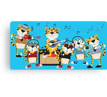 Cartoon Animals Tigers Rock Band Musical Canvas Print