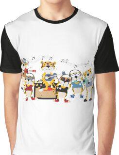 Cartoon Animals Tigers Rock Band Musical Graphic T-Shirt
