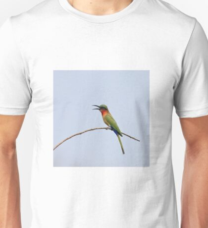 Red-throated Bee-eater with bill open Unisex T-Shirt