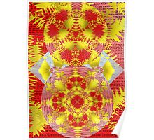 Oriental Red Gold Ornate Floral Pattern Poster