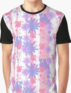 Pink Striped Floral Pattern Graphic T-Shirt