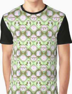 Green Pastel Penguin Pattern Graphic T-Shirt
