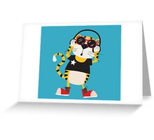 Cartoon Animals Tiger Listening To Music Greeting Card