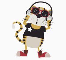 Cartoon Animals Tiger Listening To Music Kids Tee