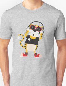Cartoon Animals Tiger Listening To Music T-Shirt