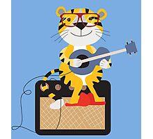 Cartoon Tiger Playing Guitar Photographic Print