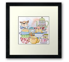 Cartoon Animals Kittens Tea Time Framed Print