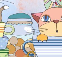 Cartoon Animals Kittens Tea Time Sticker