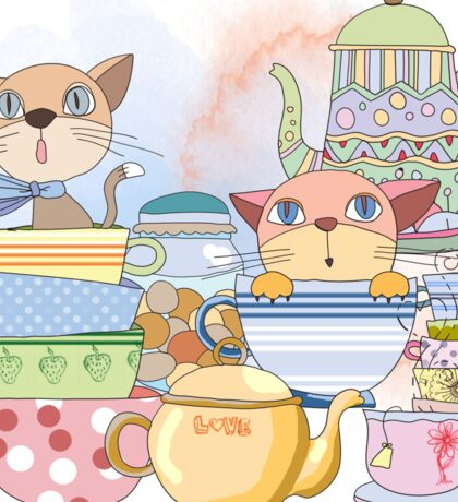 Cartoon Animals Kittens Tea Time Sticker