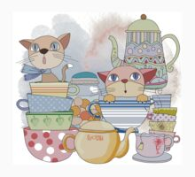Cartoon Animals Kittens Tea Time Kids Tee