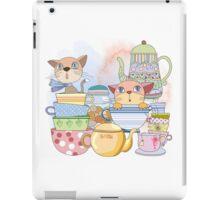 Cartoon Animals Kittens Tea Time iPad Case/Skin