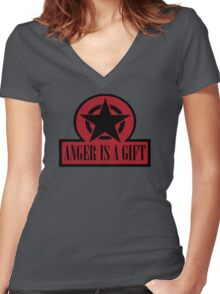 ANGER IS A GIFT Women's Fitted V-Neck T-Shirt