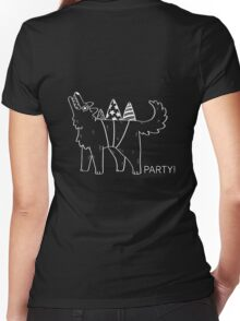 Party Dog – B&W Women's Fitted V-Neck T-Shirt