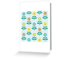 Flowers print in light blue backgroung Greeting Card