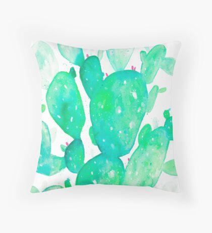 Green Watercolour Cactus Throw Pillow