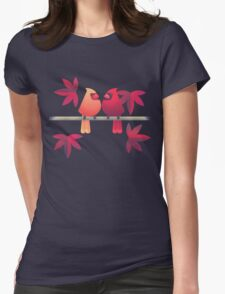 Northern cardinals on a Japanese maple tree Womens Fitted T-Shirt