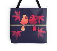 Northern cardinals on a Japanese maple tree Tote Bag