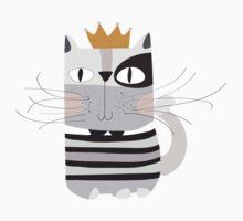 Cartoon Animals Pets King Cat One Piece - Short Sleeve