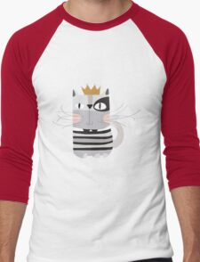 Cartoon Animals Pets King Cat Men's Baseball ¾ T-Shirt
