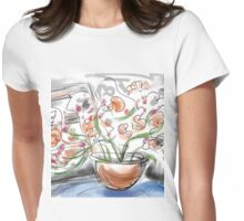 Orange flowers on a Blue Table Womens Fitted T-Shirt