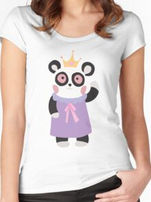 Girly Princess Panda Bear Women's Fitted Scoop T-Shirt