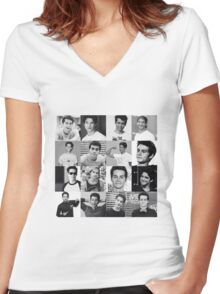 Tyler Posey & Dylan O'brien collage Women's Fitted V-Neck T-Shirt