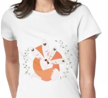Cartoon Forest Animals Red Foxes in Love Womens Fitted T-Shirt